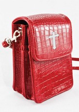 Crossbody Wristlet, Faux Patent Leather Croc-Look, Red