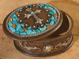 Cross, Keepsake Box, Turquoise