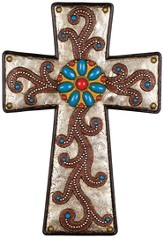 Stained Wood and Turquoise, Wall Cross