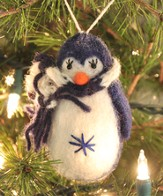 Penguin Ornament, Navy, Fair Trade Product