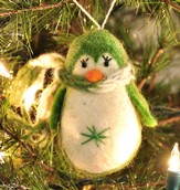 Penguin Ornament, Green, Fair Trade Product