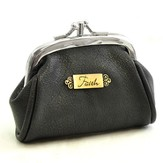 Faith Coin Purse, Faux Leather, Black
