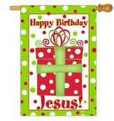 Happy Birthday Jesus Flag, Large