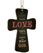 Live Simply Love Generously, Cross Car Charm