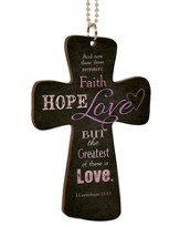 Faith, Hope, Love, Cross Car Charm