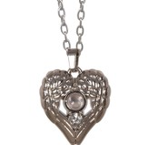Wing, Heart Magnifier Necklace