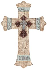 Faith Wall Cross, Ruby, Ivory and Turquoise