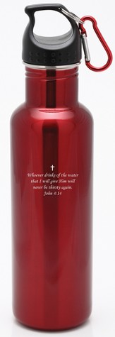 Stainless Steel Sport Bottle John 4:14, Red