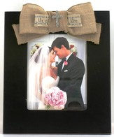 Mr and Mrs Photo Frame, with Burlap Bow, Bling Cross