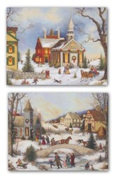 Folk Art, Assorted Christmas Cards, Box of 18