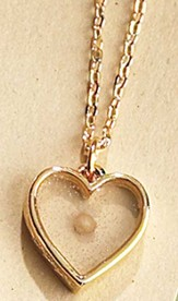 Mustard Seed Heart Bracelet, Mini Shadowbox Style, Gold