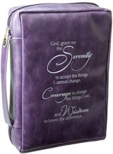 Serenity Prayer Bible Cover, Purple, Medium