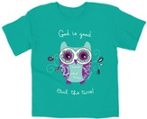 God Is Good, Owl the Time Shirt, Teal, Youth Large