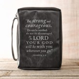 Be Strong and Courageous Bible Cover, Black, Medium