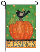 Blessings Garden Flag, Bird on Pumpkin
