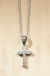 Cross Necklace with Center Stone