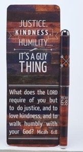 Justice, Kindness, Humility Jumbo Bookmark and Pen Set