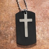 Dog Tag Pendant with Cross, Black
