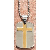 Dog Tag Pendant with Cross, Silver and Gold