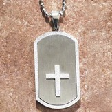 Dog Tag Pendant with Cross, Stainless Steel