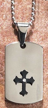 Dog Tag Pendant with Black Cross, Silver