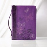 Butterflies Bible Cover, Purple, Medium