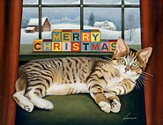 Merry Christmas, Resting Cat, Boxed Christmas Cards, 18