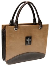 Croc Embossed Cross Bible Cover, Brown, Large