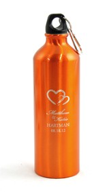 Personalized, Two Hearts Water Bottle, Orange