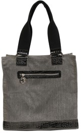 Croc Embossed Tote Bag, Cross Zipper Pull, Gray