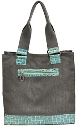Croc Embossed Tote Bag, Cross Zipper Pull, Aqua