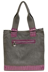 Croc Embossed Tote Bag, Cross Zipper Pull, Purple