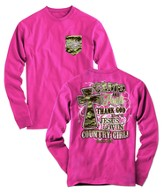 Camo and Pearls Long Sleeve Shirt, Pink, Large
