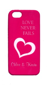 Personalized, iPhone 5 Case, Love Never Fails, Pink
