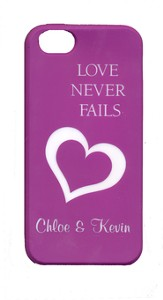 Personalized, iPhone 5 Case, Love Never Fails, Purple