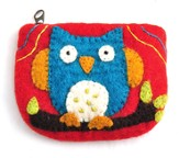 Felt Zippered Coin Purse, Owl, Fair Trade Product