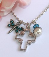 Cross Dragonfly Necklace