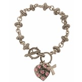 Believe For a Cure Bracelet, Pink Heart