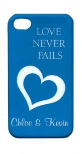 Personalized, iPhone 4 Case, Love Never Fails, Blue