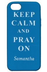 Personalized iPhone 4 Case, Pray On, Blue