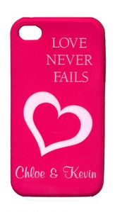 Personalized, iPhone 4 Case, Love Never Fails, Pink