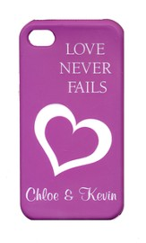 Personalized, iPhone 4 Case, Love Never Fails, Purple