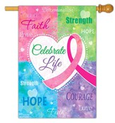 Celebrate Life, Breast Cancer Awareness Flag, Large