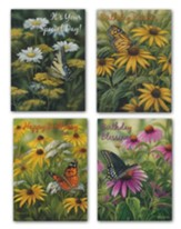 Butterfly Blooms Birthday Cards, Box of 12