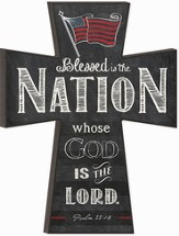 Blessed is the Nation Chalkboard Wall Cross