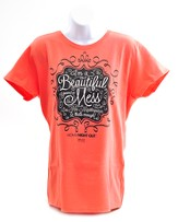 Beautiful Mess Shirt, Coral, Large