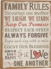 Family Rules, Burlap Wall Art