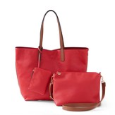 Tote, Crossbody & Coin Bag Collection, Red & Brown, Set of 3