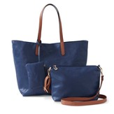 Tote, Crossbody & Coin Bag Collection, Blue & Brown, Set of 3