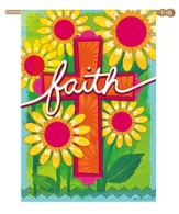 Faith, Floral Cross Flag, Large